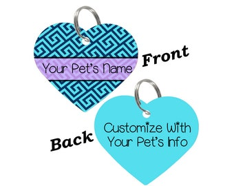 Custom Cute Checkered Heart Double Sided Pet Tag for Dogs & Cats Personalized for Your Pet