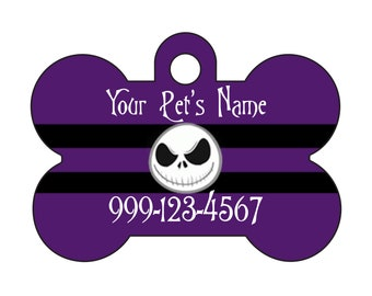 Disney Nightmare Before Christmas Pet Id Dog Tag Personalized w/ Your Pet's Name and Number, Jack Skellington