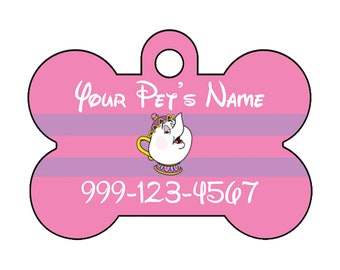 Disney Beauty and The Beast Mrs Potts Pet Id Dog Tag Personalized w/ Name and Number
