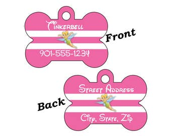 Disney Tinkerbell Custom Double Sided Pet Id Dog Tag Personalized w/ 4 Lines of Text