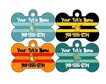 Pokemon Custom Pet Id Dog Tag Personalized w/ Your Pet's Name and Number