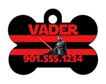 Disney Star Wars Darth Vader Custom Pet Id Dog Tag Personalized w/ Your Pet's Name and Number