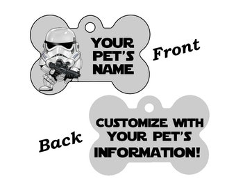 Disney Star Wars Stormtrooper Double Sided Pet Id Dog Tag Personalized for your Pet