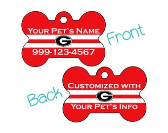 Georgia Bulldogs Double Sided Pet Id Dog Tag | Officially Licensed | Personalized for Your Pet