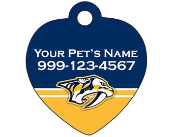 Nashville Predators Pet Id Tag for Dogs & Cats | Personalized for Your Pet | Fits all Dogs and Cats!