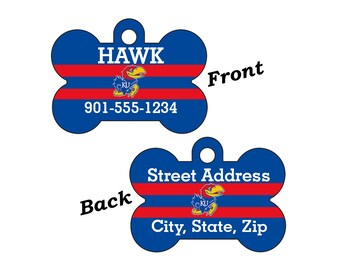 Kansas Jayhawks Double Sided Pet Id Tag for Dogs and Cats Personalized for your Pet