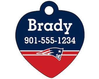 New England Patriots Pet Id Tag for Dogs and Cats Personalized w/ Your Pet's Name & Number