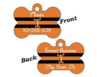 Disney Winnie the Pooh Tigger 2-SIDED Pet Id Tag for Dogs and Cats Personalized w/ 4 Lines of Text