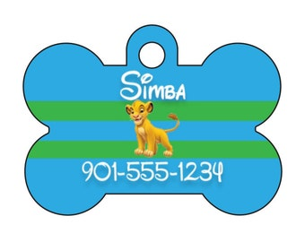 Disney The Lion King Simba Custom Pet Id Dog Tag Personalized w/ Your Pet's Name & Number