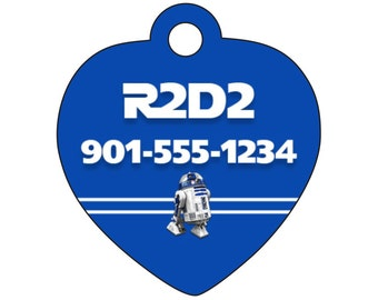Disney Star Wars R2D2 Personalized Dog Tag Cat Tag Pet Id w/ Your Pet's Name & Number