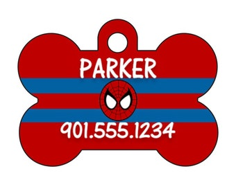 Disney Spiderman Custom Pet Id Dog Tag Personalized w/ Name & Number
