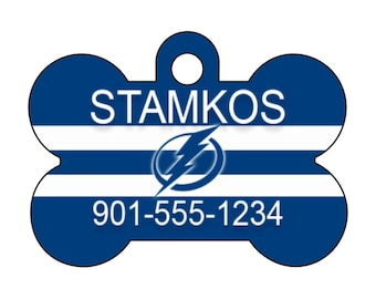 Tampa Bay Lightning Custom Pet Id Dog Tag Personalized w/ Name & Number
