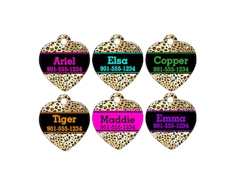 Leopard Animal Print Pet Id Tag for Dogs and Cats Personalized w/ Your Pet's Name & Number