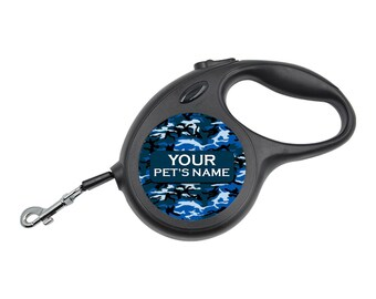 Retractable Dog Walking Leash | Blue Camo | Personalized with Your Pet's Name | Extends to 16ft