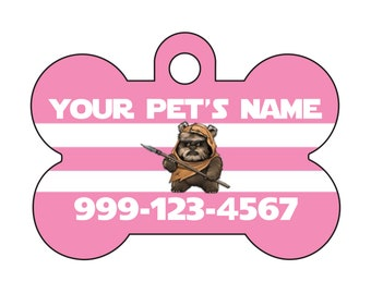 Disney Star Wars Ewok Pink Pet Id Dog Tag Personalized w/ Name & Number