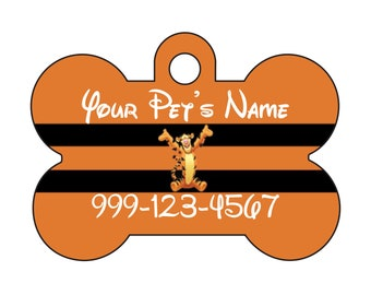 Disney Tigger Pet Id Dog Tag Personalized w/ Name & Number
