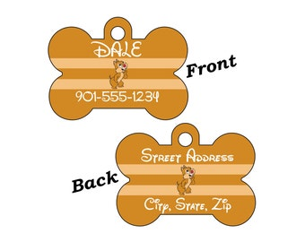 Disney Dale Custom Double Sided Pet Id Dog Tag Personalized for your Pet