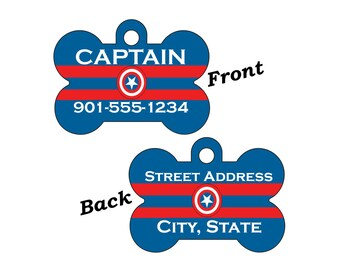 Captain America Double Sided Pet Id Dog Tag Personalized w/ 4 Lines of Text