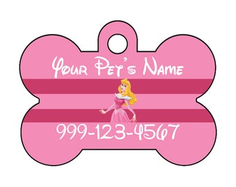 Disney Princess Aurora Sleeping Beauty Pet Id Dog Tag Personalized w/ Name & Number