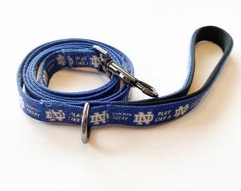 Notre Dame Fighting Irish Custom Nylon Dog Leash w/ Doggy Bag Clip!