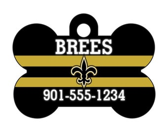 New Orleans Saints Pet Id Dog Tag Personalized w/ Your Pet's Name and Number