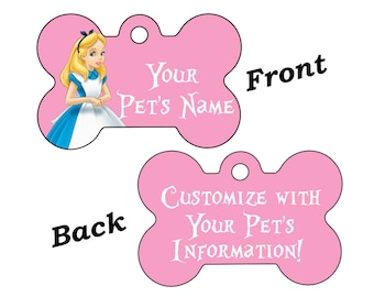 Disney Alice in Wonderland Double Sided Pet Id Dog Tag Personalized w/ 4 Lines of Text