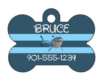 Disney Finding Nemo Bruce Personalized Dog Tag Pet Id Tag w/ Your Pets Name and Number