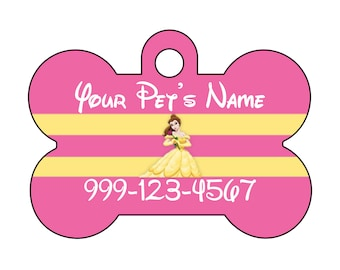 Disney Princess Belle Pink Pet Id Tag for Dogs and Cats Personalized w/ Name & Number