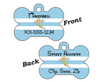 Disney Tinkerbell 2-SIDED Pet Id Tag for Dogs and Cats Personalized w/ 4 Lines of Text