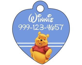 Disney Winnie the Pooh Pet Id Tag for Dogs and Cats Personalized w/ Your Pet's Name & Number