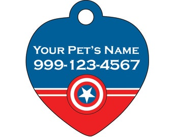 Captain America Pet Id Tag for Dogs and Cats Personalized w/ Name & Number