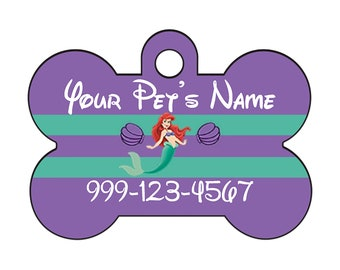 Disney The Little Mermaid Ariel Pet Id Dog Tag Personalized w/ Your Pet's Name & Number