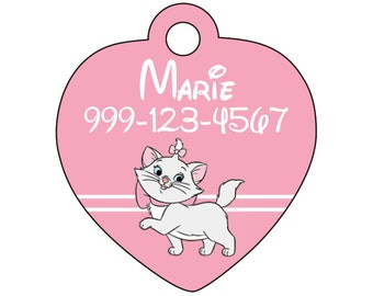 Disney Aristocats Marie Pink Pet Id Cat Tag Personalized w/ Your Pet's Name and Number