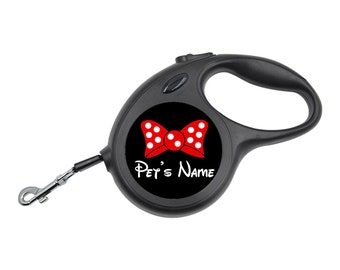 Cute Minnie Bow Retractable Leash Personalized for Your Pet