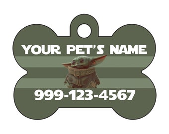 Baby Yoda The Mandalorian Pet Id Dog Tag Personalized w/ Your Pet's Name and Number