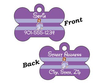 Disney Princess Sofia Double Sided Pet Id Dog Tag Personalized w/ 4 Lines of Text