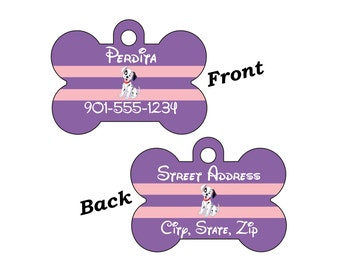 Disney 101 Dalmations Purple 2-SIDED Pet Id Tag for Dogs and Cats Personalized for your Pet