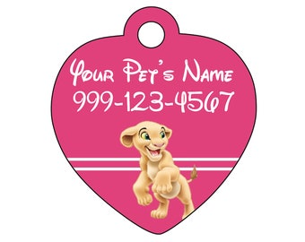 Disney Nala Pet Id Tag for Dogs and Cats Personalized w/ Your Pet's Name & Number