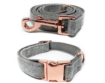Rose Gold Collar and Leashes   Gray Nylon Collars and Leashes w/ Rose Gold Buckles