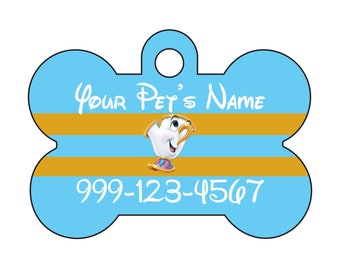 Disney Chip Beauty and the Beast Personalized Pet Id Dog Tag w/ Your Pet's Name and Number
