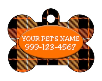 Plaid Halloween Themed Custom Pet Id Dog Tag Personalized w/ Your Pet's Name & Number