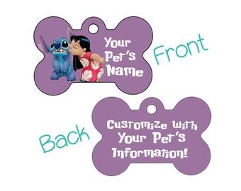 Disney Lilo and Stitch Double Sided Pet Id Dog Tag Personalized w/ 4 Lines of Text