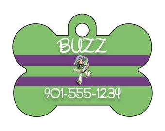 Disney Toy Story Buzz Lightyear Pet Id Dog Tag Personalized w/ Your Pet's Name & Number