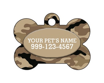 Fashionable Cute Brown Camo Pet Id Dog Tag Personalized for Your Pet