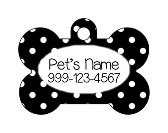 Stylish Cute Polka Dots Pet Id Dog Tag Personalized for Your Pet