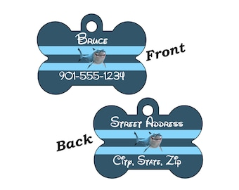 Disney Finding Nemo Bruce Custom Double Sided Pet Id Dog Tag Personalized for your Pet