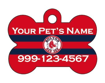 Boston Red Sox Pet Id Dog Tag Personalized w/ Your Pet's Name and Number