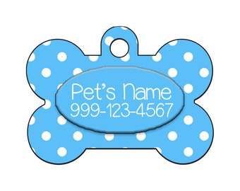 Stylish Cute Polka Dots Blue Pet Id Dog Tag Personalized for Your Pet