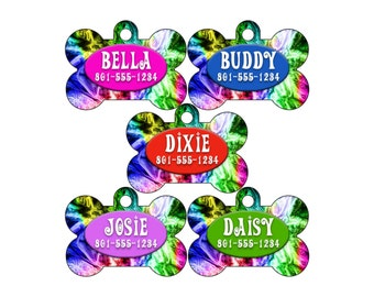 Personalized Rainbow Pet Id Dog Tag w/ Your Pet's Name and Number