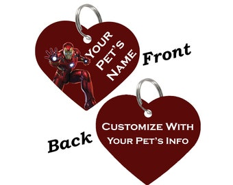 Iron Man Double Sided Pet Id Tag for Dogs & Cats Personalized for Your Pet
